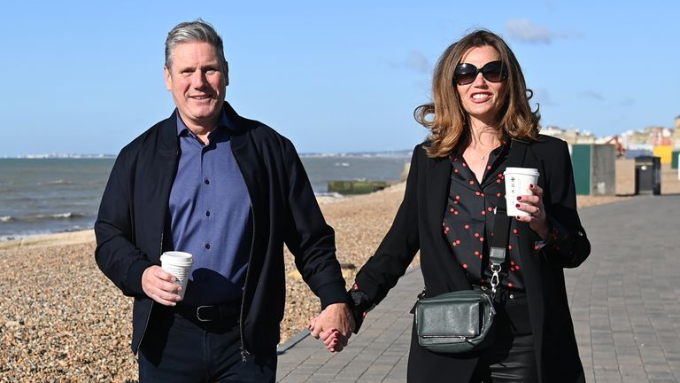 Labour party leader Sir Keir Starmer and his wife Victoria walk along the promenade in Brighton, East Sussex, ahead of delivering his keynote speech at the Labour Party conference. Picture date: Wednesday September 29, 2021.
