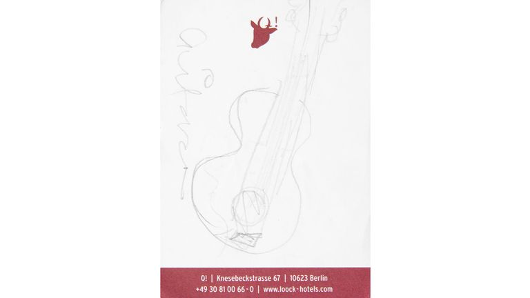 EMBARGOED TO 1400 WEDNESDAY SEPTEMBER 15 Undated handout photo issued by Julien's Auctions of a sketch in pencil on stationary from a Berlin hotel of a guitar by Amy Winehouse, which is expected to sell for ..860 when auctioned along with a collection of the late singer's personal items. Issue date: Wednesday September 15, 2021.