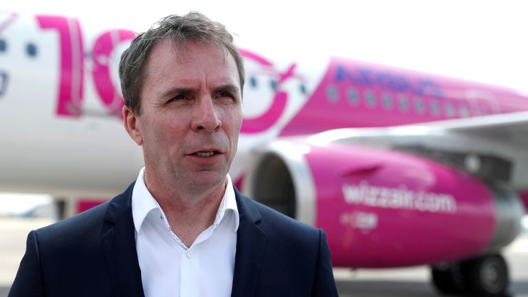 FILE PHOTO: CEO of Wizz Air, Jozsef Varadi, speaks during the unveiling ceremony for the 100th plane in its fleet, at Budapest Airport, Hungary, June 4, 2018. REUTERS/Bernadett Szabo/File Photo