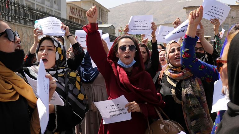Women gather to demand their rights under the Taliban rule during a protest in Kabul, Afghanistan, Friday, Sept. 3, 2021.  PIC:AP PIC:AP PIC:AP