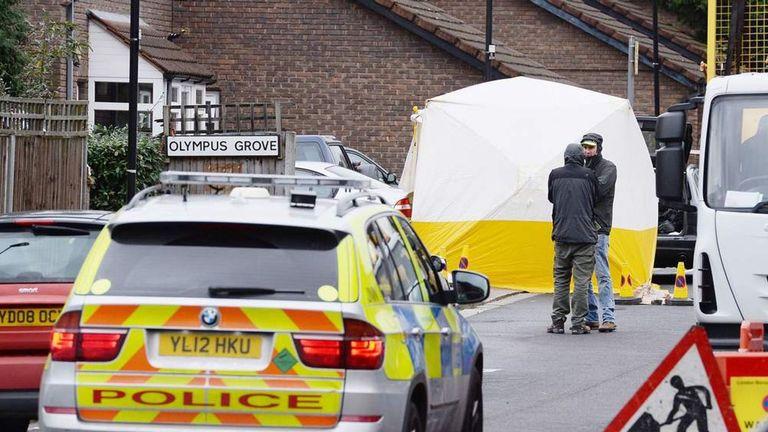 The crime scene in Tottenham, north London, where Mr Baker died