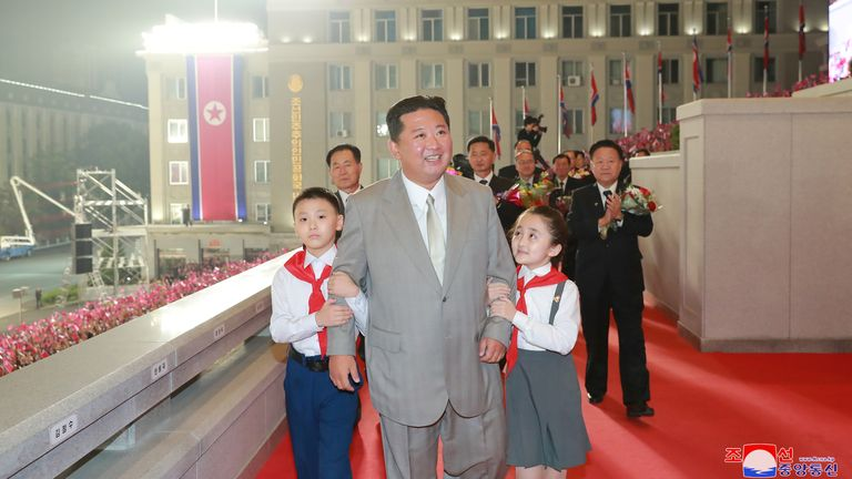 North Korea leader Kim Jong Un attends a paramilitary parade held to mark the 73rd founding anniversary of the republic at Kim Il Sung square in Pyongyang in this undated image supplied by North Korea's Korean Central News Agency on September 9