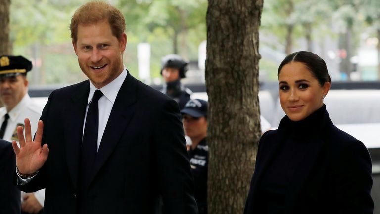 Britain's Prince Harry and Meghan, Duke and Duchess of Sussex, visit the 9/11 Memorial in Manhattan, New York City, U.S.,