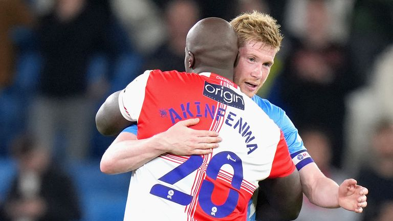 Adebayo Akinfenwa was hailed a 'legend' by Pep Guardiola after Manchester City's win over Wycombe in the Carabao Cup