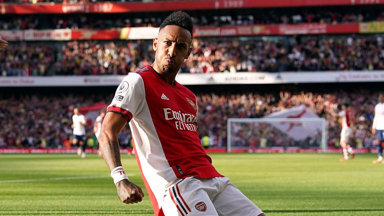 Arsenal's Pierre-Emerick Aubameyang celebrates scoring their side's second goal of the game during the Premier League match at the Emirates Stadium