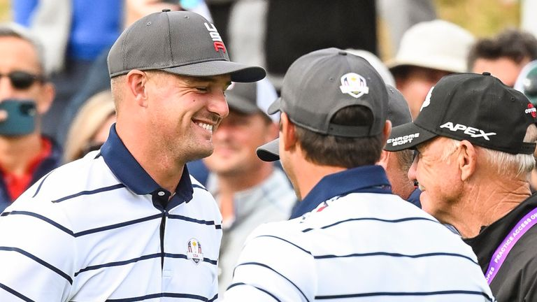 SHEBOYGAN, WI - SEPTEMBER 21:  Bryson DeChambeau and Brooks Koepka of the U.S. Team smile with Team Europe Vice Captain Henrik Stenson of Sweden during practice for the 43rd Ryder Cup at Whistling Straits on September 21, 2021 in Sheboygan, Wisconsin. (Photo by Keyur Khamar/PGA TOUR via Getty Images)
