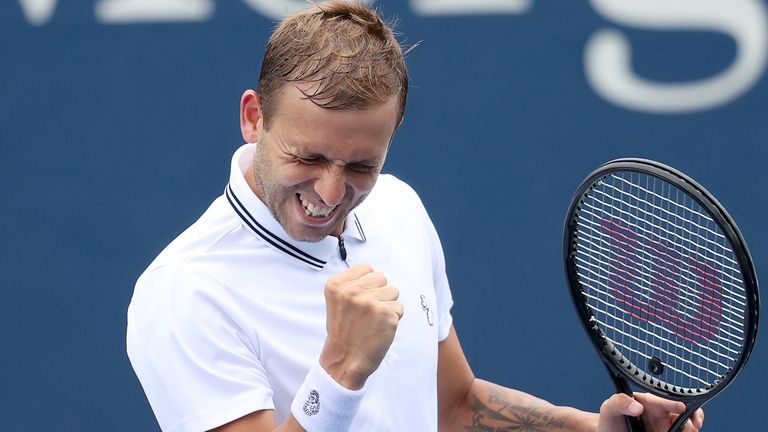Dan Evans of Great Britain celebrates a point against Marcos Giron of the United States during his Men's Singles second round match on Day Three of the 2021 US Open at the Billie Jean King National Tennis Center on September 01, 2021 in the Flushing neighborhood of the Queens borough of New York City. (Photo by Matthew Stockman/Getty Images)