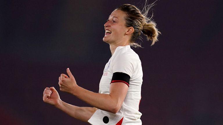 Ellen White celebrates scoring for England