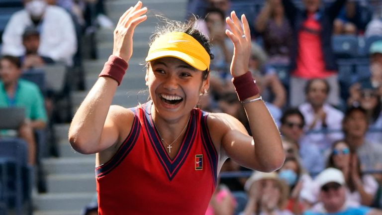 Britain's Emma Raducanu celebrates her win over Switzerland's Belinda Bencic during their 2021 US Open Tennis tournament women's quarter-finals match at the USTA Billie Jean King National Tennis Center in New York, on September 8, 2021. (Photo by TIMOTHY A. CLARY / AFP) (Photo by TIMOTHY A. CLARY/AFP via Getty Images)