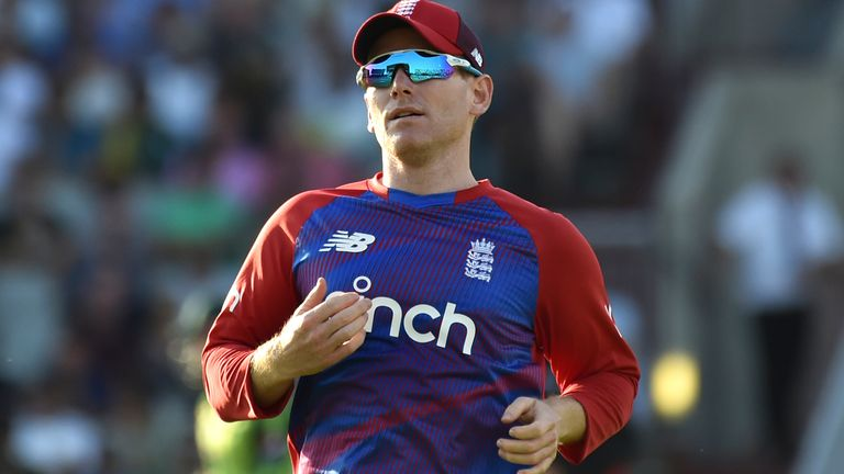 England captain Eoin Morgan during the third T20 international cricket match between England and Pakistan at Old Trafford cricket ground in Manchester, England, Tuesday, July 20, 2021. (AP Photo/Rui Vieira)..