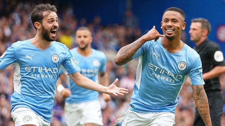 Gabriel Jesus celebrates scoring the opening goal of the game