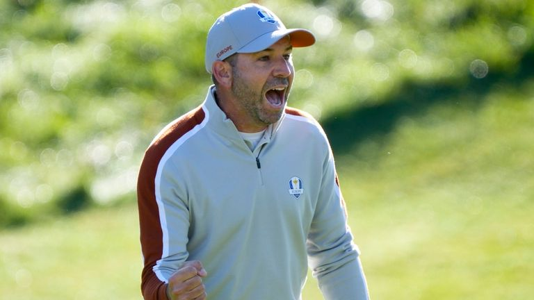 Team Europe's Sergio Garcia reacts after chipping in on the ninth hole during a foursomes match the Ryder Cup at the Whistling Straits Golf Course Saturday, Sept. 25, 2021, in Sheboygan, Wis. (AP Photo/Charlie Neibergall)
