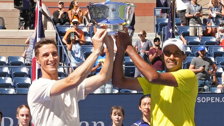 US Open Men's Doubles Champions Joe Salisbury and Rajeev Ram, Friday, Sep. 10, 2021 in Flushing, NY. (Darren Carroll/USTA via AP)