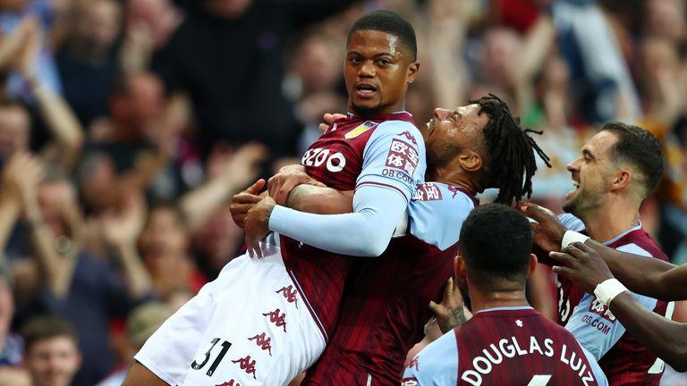 Leon Bailey is congratulated by his Villa teammates