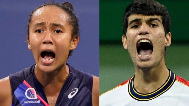 Leylah Fernandez and Carlos Alcaraz at the US Open