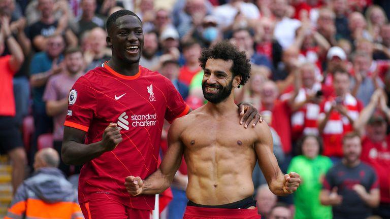 Mohamed Salah celebrates with Ibrahima Konate after scoring Liverpool's second goal