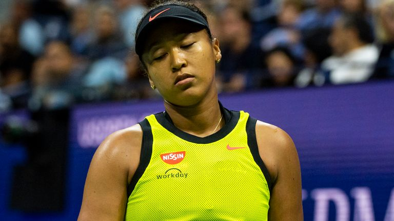 Naomi Osaka of Japan looks dejected during her match against Leylah Fernandez of Canada in the third round of the women's singles at the US Open at the USTA Billie Jean King National Tennis Center on September 03, 2021 in New York City. (Photo by TPN/Getty Images)