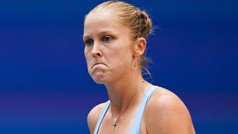 Shelby Rogers, of the United States, reacts after losing a point to Emma Raducanu, of Britain, during the fourth round of the U.S. Open tennis championships, Monday, Sept. 6, 2021, in New York. (AP Photo/Seth Wenig)