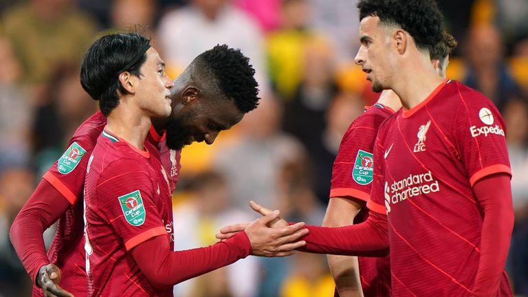Liverpool celebrate Takumi Minamino's second