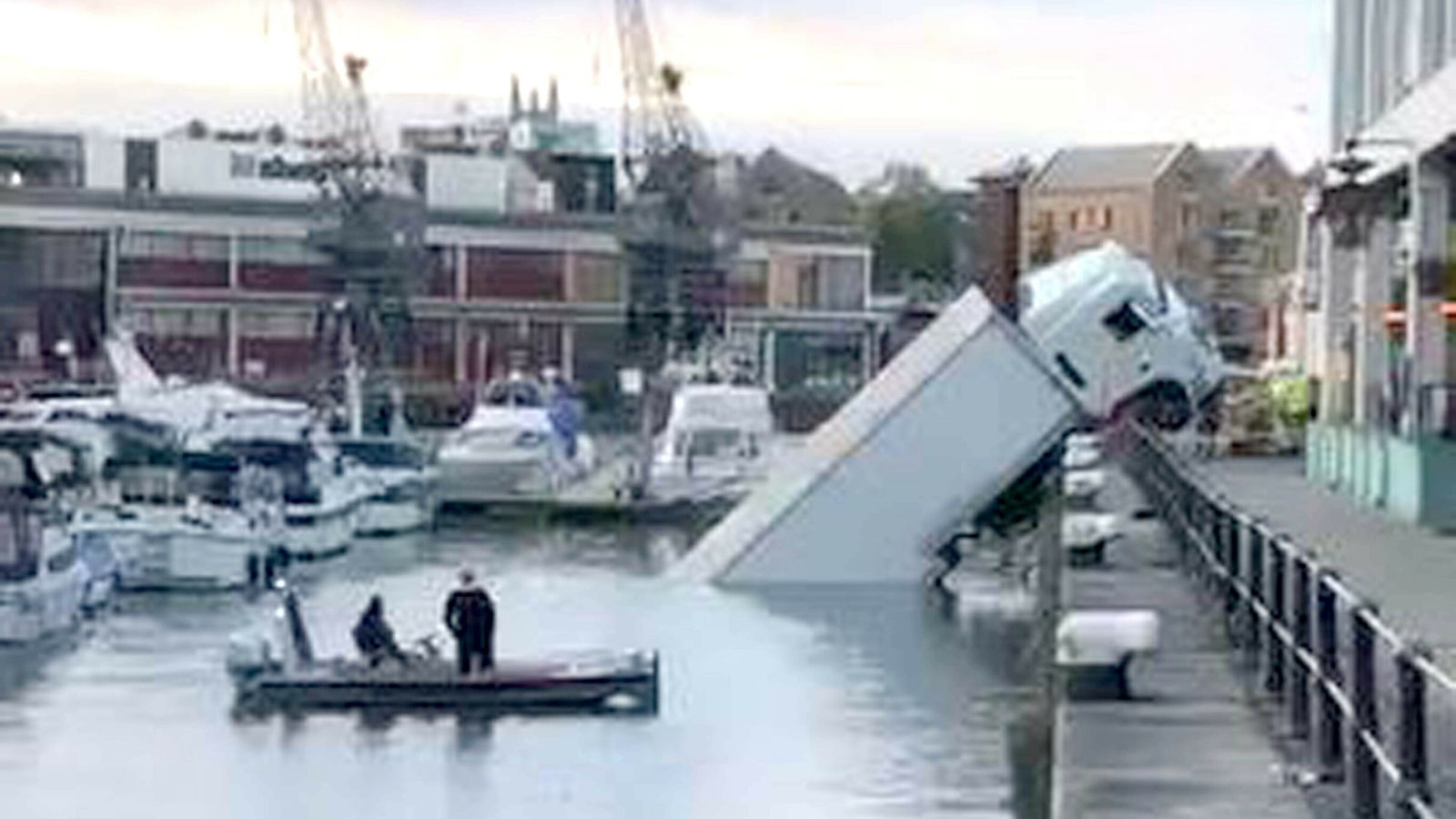 Lorry left dangling on dock edge after plunging into Bristol harbour
