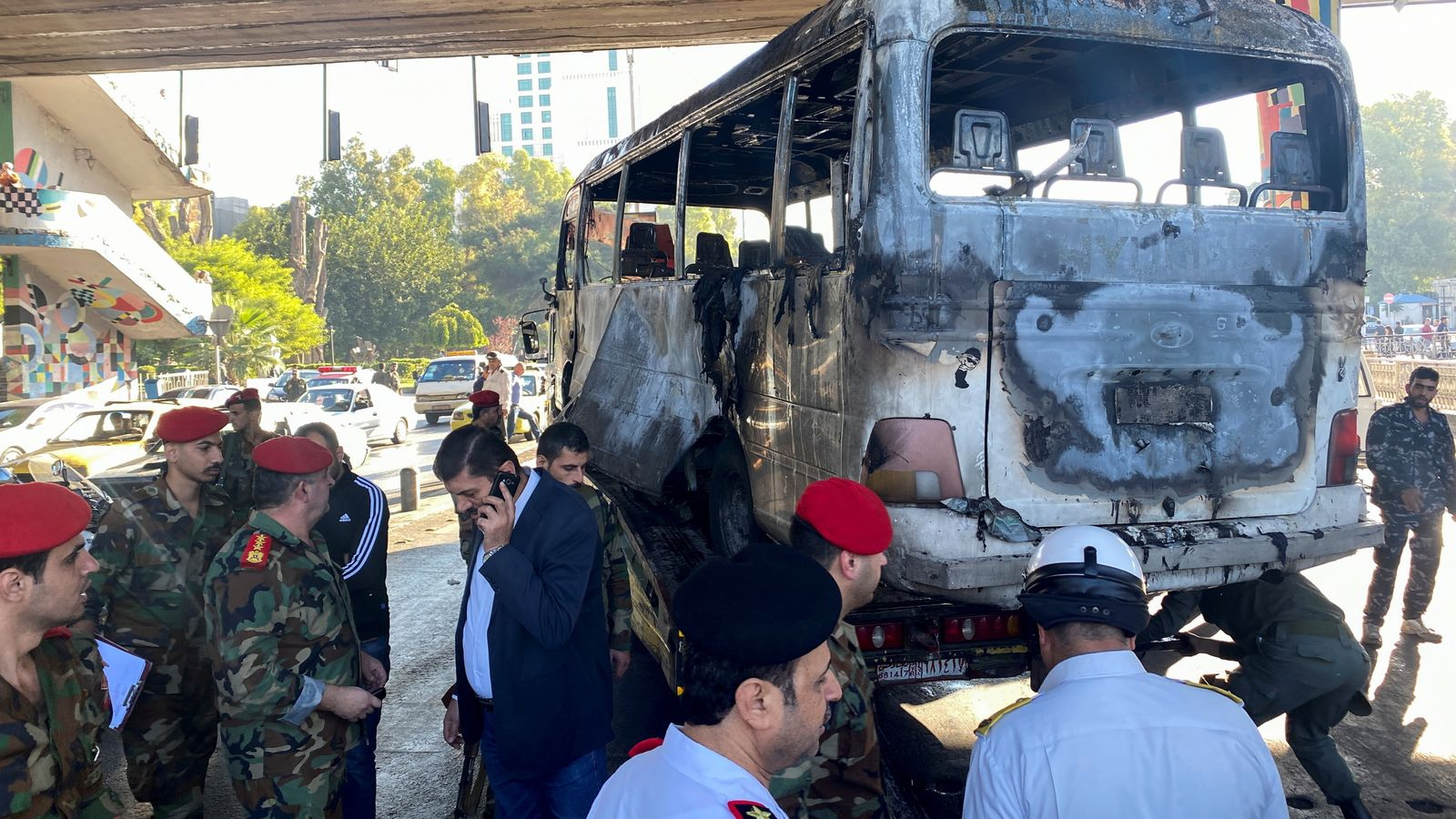 Syria: 13 killed and three injured after explosion destroys bus in Damascus