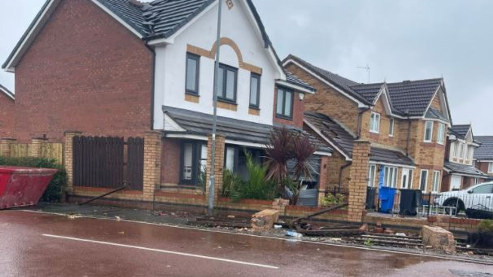 UK weather: 'Mini-tornado' leaves trail of destruction in Cheshire town