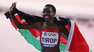 Agnes Tirop following her bronze medal finish in the 10,000m in Doha in 2019