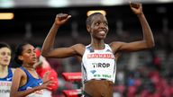 Athletics - IAAF Diamond League meeting - Women's 1500m race - Stockholm Olympic Stadium, Stockholm, Sweden - May 30, 2019. Agnes Jebet Tirop of Kenya smiles after winning. Fredrik Sandberg /TT News Agency via REUTERS ATTENTION EDITORS - THIS IMAGE WAS PROVIDED BY A THIRD PARTY. SWEDEN OUT. NO COMMERCIAL OR EDITORIAL SALES IN SWEDEN.