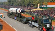 An Agni V missile at a Republic Day parade in New Delhi in  2013
