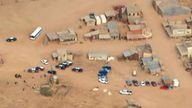 Aerials of the film location where Alec Baldwin shot a woman with a prop