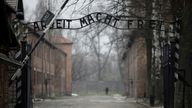 """The """"Arbeit macht frei"""" (Work sets you free) gate is pictured on the site of the former Nazi German concentration camp Auschwitz"""