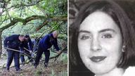 Gardai search a wooded area of Brewel East, on the Kildare/Wicklow border for the remains of Deirdre Jacob who disappeared over 20 years ago