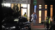 Forensic police were investigating the scene at the church