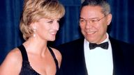 """The Princess of Wales and retired U.S. General Colin Powell share a smile while attending the United Cerebral Palsy annual dinner in New York December 11. Diana was to receive their """"Humanitarian Award"""" for her work with philanthropic organizations"""