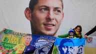 Cardiff supporters gather to pay tribute to Argentinian soccer player Emiliano Sala. Pic: AP