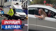 Angry motorist at Insulate Britain protest