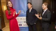 (left to right) The Duchess of Cambridge meets television presenters Ant McPartlin and Declan Donnelly, and musician Tom Walker at the launch of the Forward Trust's Taking Action on Addiction campaign at BAFTA, London. Picture date: Tuesday October 19, 2021.