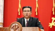 Kim Jong Un speaks during an event celebrating the 76th anniversary of the founding of the ruling Workers' Party of Korea (WPK) in Pyongyang