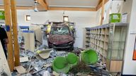 A car has crashed into a library in Hampshire. Pic: Hardley Fire Station