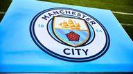 CHICAGO, IL - JULY 20: A detailed view of a Manchester City logo is seen on the field during an International Champions Cup match between Manchester City and Borussia Dortmund on July 20, 2018 at Soldier Field in Chicago, Illinois. (Photo by Robin Alam/Icon Sportswire)