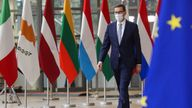 Poland's Prime Minister Mateusz Morawiecki arriving for an EU summit in Brussels