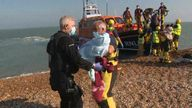 A 16-day-old baby was among those to arrive in Kent today