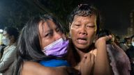 Pic: AP  People reunited after the Myanmar prisoner release