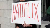 Dave Briggs, an American TV presenter, joined the protest outside Netflix's headquarters in California