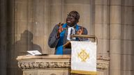 President of the Methodist Church in Ireland, Rev Dr Sahr Yambasu speaking at a service to mark the centenary of Northern Ireland
