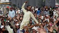 """Thousands of Islamists launched their """"long march"""" from the eastern city of Lahore toward Pakistan's capital. Pic: AP"""