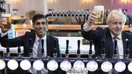 Prime Minister Boris Johnson with Chancellor of the Exchequer Rishi Sunak during a visit to Fourpure Brewery in Bermondsey, London