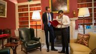 The Chancellor Rishi Sunak and the Chief Secretary to the Treasury Simon Clarke talk through the Budget in the offices of 11 Downing Street PIC: HM Treasury