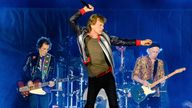 """Ronnie Wood, from left, Mick Jagger, Steve Jordan and Keith Richards of the Rolling Stones perform during the """"No Filter"""" tour at The Dome at America's Center on Sunday, Sept. 26, 2021 in St. Louis, Mo. (Photo by Amy Harris/Invision/AP) PIC:AP"""
