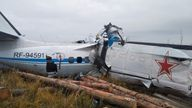 The wreckage of the L-410 plane is seen at the crash site near the town of Menzelinsk in the Republic of Tatarstan, Russia October 10, 2021.Pic: Russia's Emergencies Ministry via Reuters
